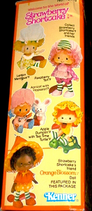 Kenner Orange Blossom Doll Box Side View with Strawberry Shortcake Apple Dumplin Raspberry