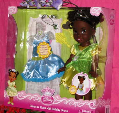 Princess Tiana Doll with Heart Necklace Closeup